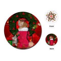 Christmas, Funny Kitten With Gifts Playing Cards (round)  by FantasyWorld7