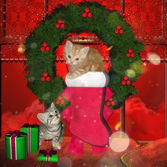 Christmas, Funny Kitten With Gifts Magic Photo Cubes by FantasyWorld7