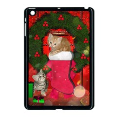 Christmas, Funny Kitten With Gifts Apple Ipad Mini Case (black) by FantasyWorld7
