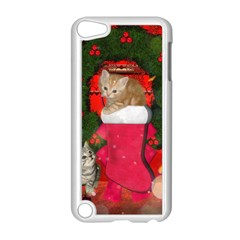 Christmas, Funny Kitten With Gifts Apple Ipod Touch 5 Case (white) by FantasyWorld7