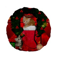 Christmas, Funny Kitten With Gifts Standard 15  Premium Round Cushions by FantasyWorld7