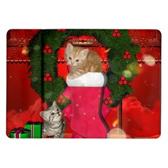Christmas, Funny Kitten With Gifts Samsung Galaxy Tab 10 1  P7500 Flip Case by FantasyWorld7