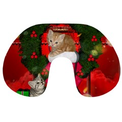 Christmas, Funny Kitten With Gifts Travel Neck Pillows by FantasyWorld7