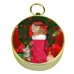 Christmas, Funny Kitten With Gifts Gold Compasses by FantasyWorld7