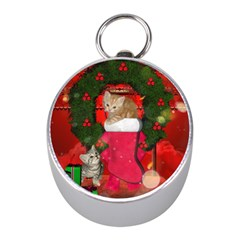 Christmas, Funny Kitten With Gifts Mini Silver Compasses by FantasyWorld7