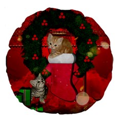 Christmas, Funny Kitten With Gifts Large 18  Premium Flano Round Cushions by FantasyWorld7