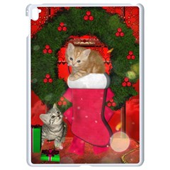 Christmas, Funny Kitten With Gifts Apple Ipad Pro 9 7   White Seamless Case by FantasyWorld7