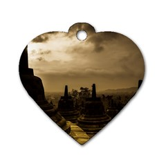 Borobudur Temple Indonesia Dog Tag Heart (two Sides)
