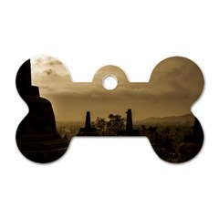 Borobudur Temple Indonesia Dog Tag Bone (two Sides) by Nexatart