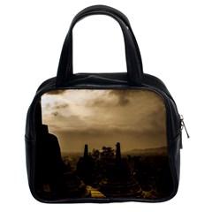 Borobudur Temple Indonesia Classic Handbags (2 Sides) by Nexatart