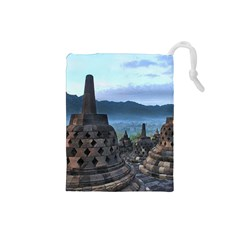 Borobudur Temple  Morning Serenade Drawstring Pouches (small)  by Nexatart