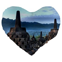 Borobudur Temple  Morning Serenade Large 19  Premium Flano Heart Shape Cushions