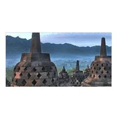 Borobudur Temple  Morning Serenade Satin Shawl