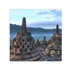 Borobudur Temple  Morning Serenade Small Satin Scarf (square) by Nexatart