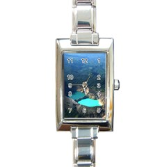 Kelimutu Crater Lakes  Indonesia Rectangle Italian Charm Watch