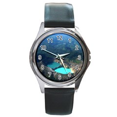 Kelimutu Crater Lakes  Indonesia Round Metal Watch