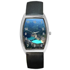 Kelimutu Crater Lakes  Indonesia Barrel Style Metal Watch