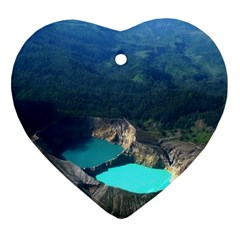 Kelimutu Crater Lakes  Indonesia Heart Ornament (two Sides)