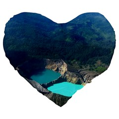 Kelimutu Crater Lakes  Indonesia Large 19  Premium Heart Shape Cushions