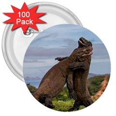 Komodo Dragons Fight 3  Buttons (100 Pack)