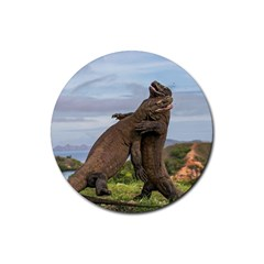Komodo Dragons Fight Rubber Coaster (round)