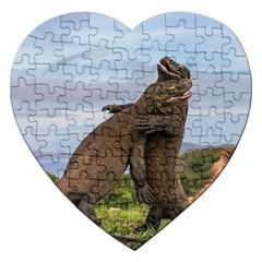 Komodo Dragons Fight Jigsaw Puzzle (heart) by Nexatart
