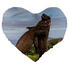 Komodo Dragons Fight Large 19  Premium Heart Shape Cushions