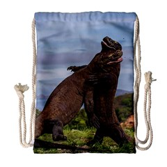 Komodo Dragons Fight Drawstring Bag (large) by Nexatart