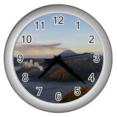 Sunrise Mount Bromo Tengger Semeru National Park  Indonesia Wall Clocks (silver)