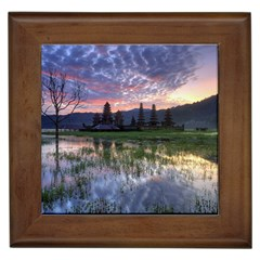 Tamblingan Morning Reflection Tamblingan Lake Bali  Indonesia Framed Tiles