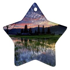 Tamblingan Morning Reflection Tamblingan Lake Bali  Indonesia Ornament (star)