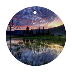 Tamblingan Morning Reflection Tamblingan Lake Bali  Indonesia Round Ornament (two Sides)