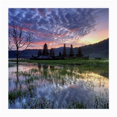 Tamblingan Morning Reflection Tamblingan Lake Bali  Indonesia Medium Glasses Cloth