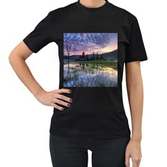 Tamblingan Morning Reflection Tamblingan Lake Bali  Indonesia Women s T Shirt (black)