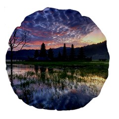 Tamblingan Morning Reflection Tamblingan Lake Bali  Indonesia Large 18  Premium Round Cushions
