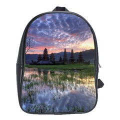 Tamblingan Morning Reflection Tamblingan Lake Bali  Indonesia School Bag (xl)