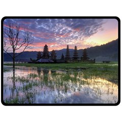 Tamblingan Morning Reflection Tamblingan Lake Bali  Indonesia Double Sided Fleece Blanket (large)