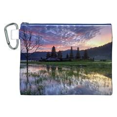 Tamblingan Morning Reflection Tamblingan Lake Bali  Indonesia Canvas Cosmetic Bag (xxl) by Nexatart