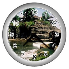 Tanah Lot Bali Indonesia Wall Clocks (silver)  by Nexatart