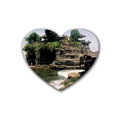 Tanah Lot Bali Indonesia Rubber Coaster (heart)  by Nexatart