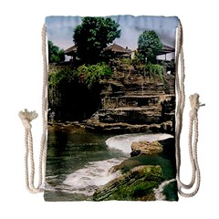 Tanah Lot Bali Indonesia Drawstring Bag (large) by Nexatart