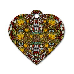 Fantasy Forest And Fantasy Plumeria In Peace Dog Tag Heart (one Side) by pepitasart