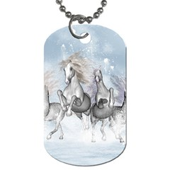 Awesome Running Horses In The Snow Dog Tag (one Side) by FantasyWorld7