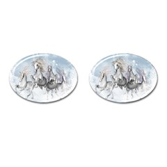 Awesome Running Horses In The Snow Cufflinks (oval) by FantasyWorld7