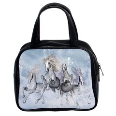 Awesome Running Horses In The Snow Classic Handbags (2 Sides) by FantasyWorld7