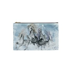 Awesome Running Horses In The Snow Cosmetic Bag (small)  by FantasyWorld7