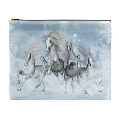 Awesome Running Horses In The Snow Cosmetic Bag (xl) by FantasyWorld7