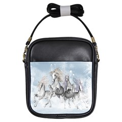 Awesome Running Horses In The Snow Girls Sling Bags by FantasyWorld7