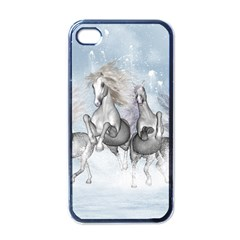 Awesome Running Horses In The Snow Apple Iphone 4 Case (black) by FantasyWorld7