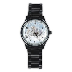 Awesome Running Horses In The Snow Stainless Steel Round Watch by FantasyWorld7
